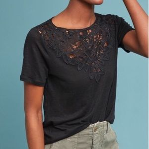 James coviello black lace front tee shirt